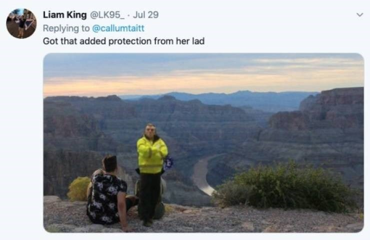 ex photoshop - Mountainous landforms - Liam King @LK95 Jul 29 Replying to @callumtaitt Got that added protection from her lad