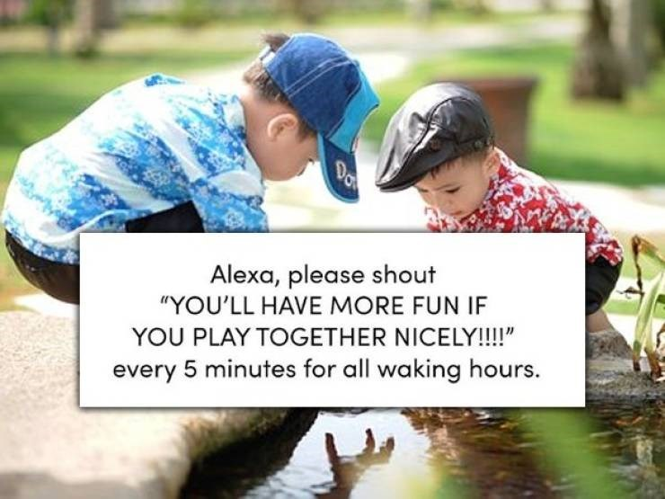 """Text - Da Alexa, please shout """"YOU'LL HAVE MORE FUN IF YOU PLAY TOGETHER NICELY!!!!"""" every 5 minutes for all waking hours."""