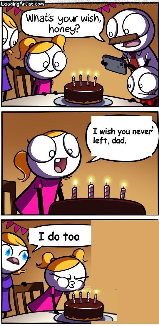 sad comic - Cartoon - LoadingArtist.com What's your wish, honey? I wish you never left, dad I do too