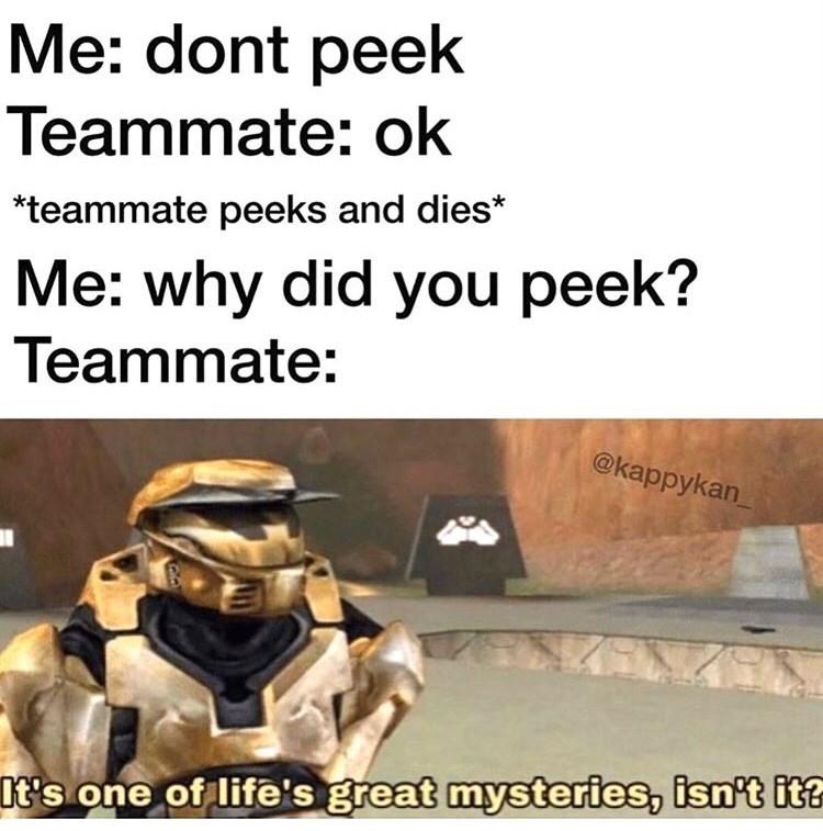 Text - Me: dont peek Teammate: ok teammate peeks and dies* Me: why did you peek? Teammate: @kappykan t's one of life's great mysteries, isn't it?