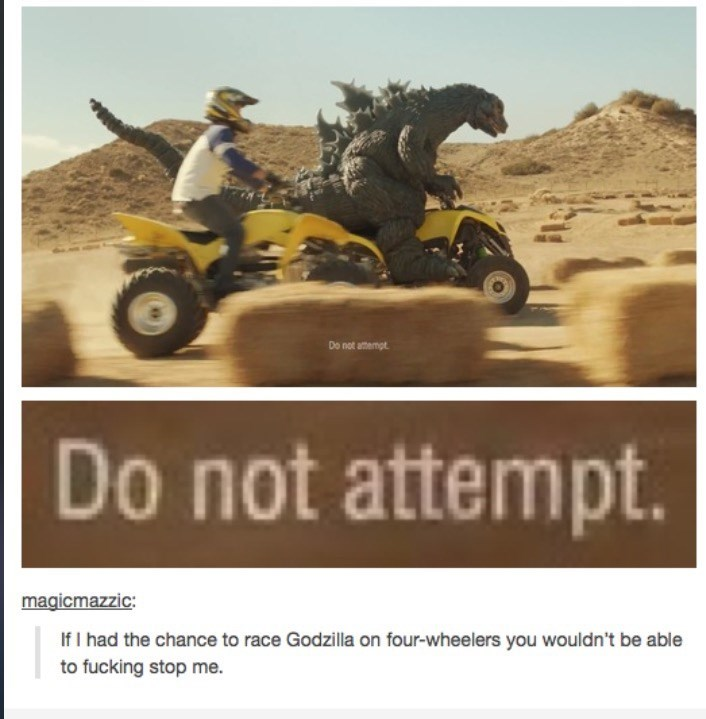 All-terrain vehicle - Do not atempt Do not attempt. magicmazzic: If I had the chance to race Godzilla on four-wheelers you wouldn't be able to fucking stop me.