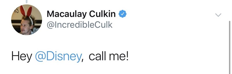 Text - Macaulay Culkin @IncredibleCulk Hey @Disney, call me!