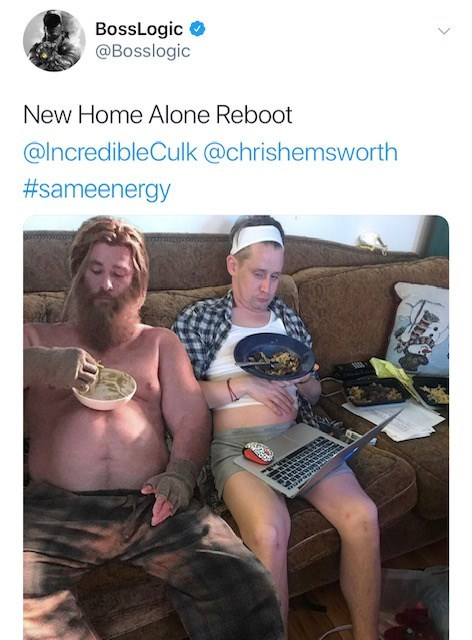Selfie - BossLogic @Bosslogic New Home Alone Reboot @IncredibleCulk @chrishemsworth #sameenergy