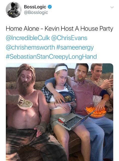 Community - BossLogic @Bosslogic Home Alone Kevin Host A House Party @IncredibleCulk @ChrisEvans @chrishemsworth #sameenergy #SebastianStanCreepyLong Hand