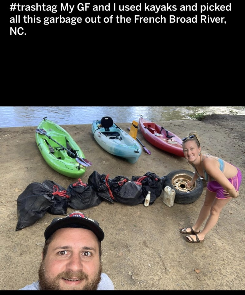 Footwear - #trashtag My GF and I used kayaks and picked all this garbage out of the French Broad River, NC.