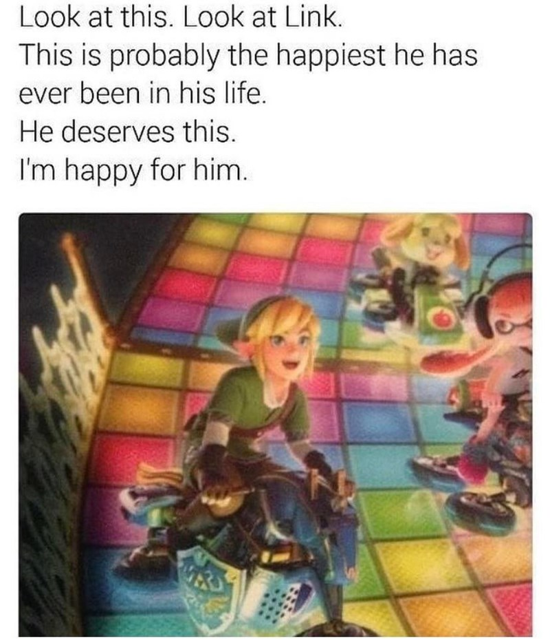 Text - Look at this. Look at Link. This is probably the happiest he has ever been in his life. He deserves this. I'm happy for him.