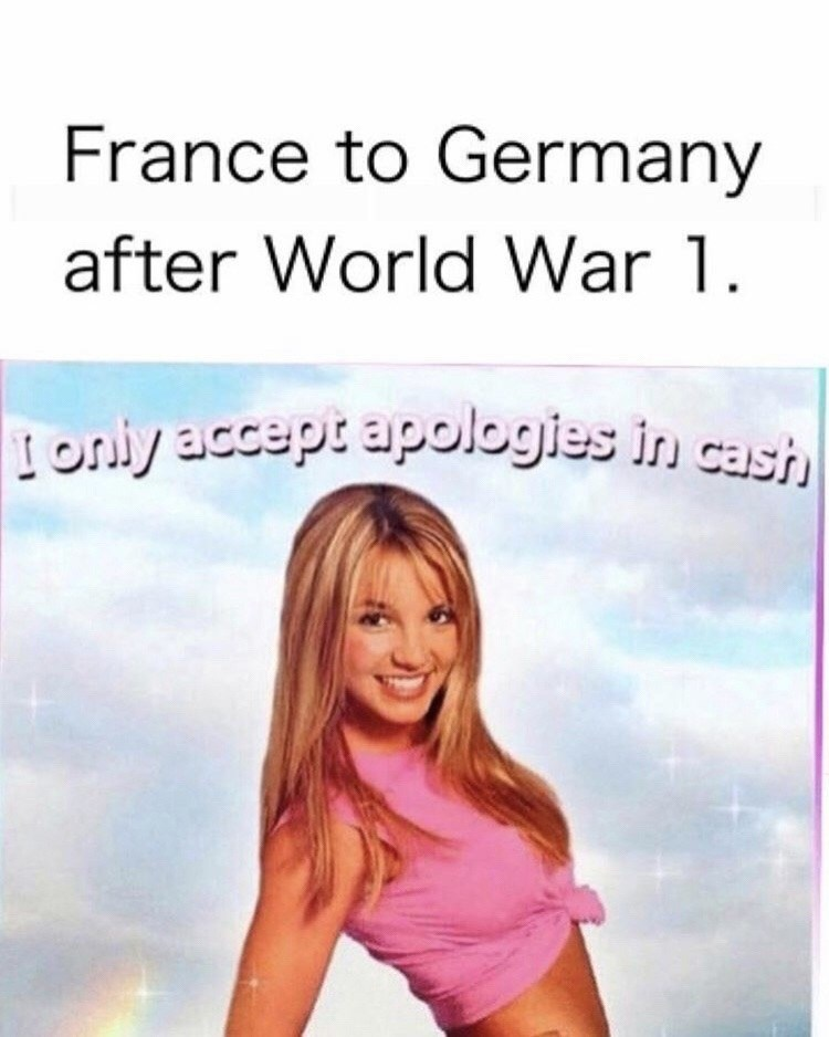 Facial expression - France to Germany after World War 1 oniy acceptapologies in cash