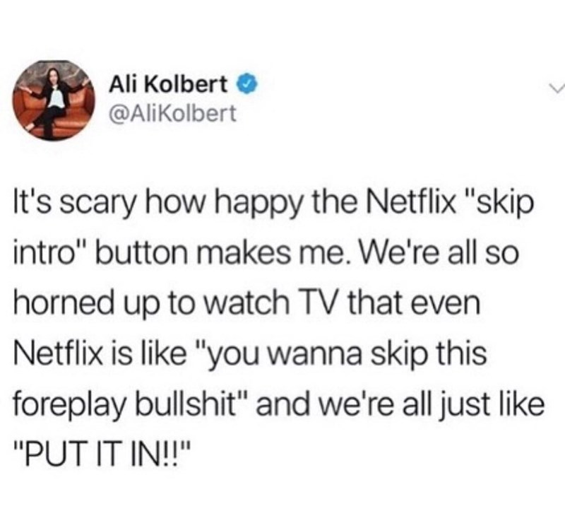 """Text - Ali Kolbert @AliKolbert It's scary how happy the Netflix """"skip intro"""" button makes me. We're all so horned up to watch TV that even Netflix is like """"you wanna skip this foreplay bullshit"""" and we're all just like """"PUT IT IN!!"""""""