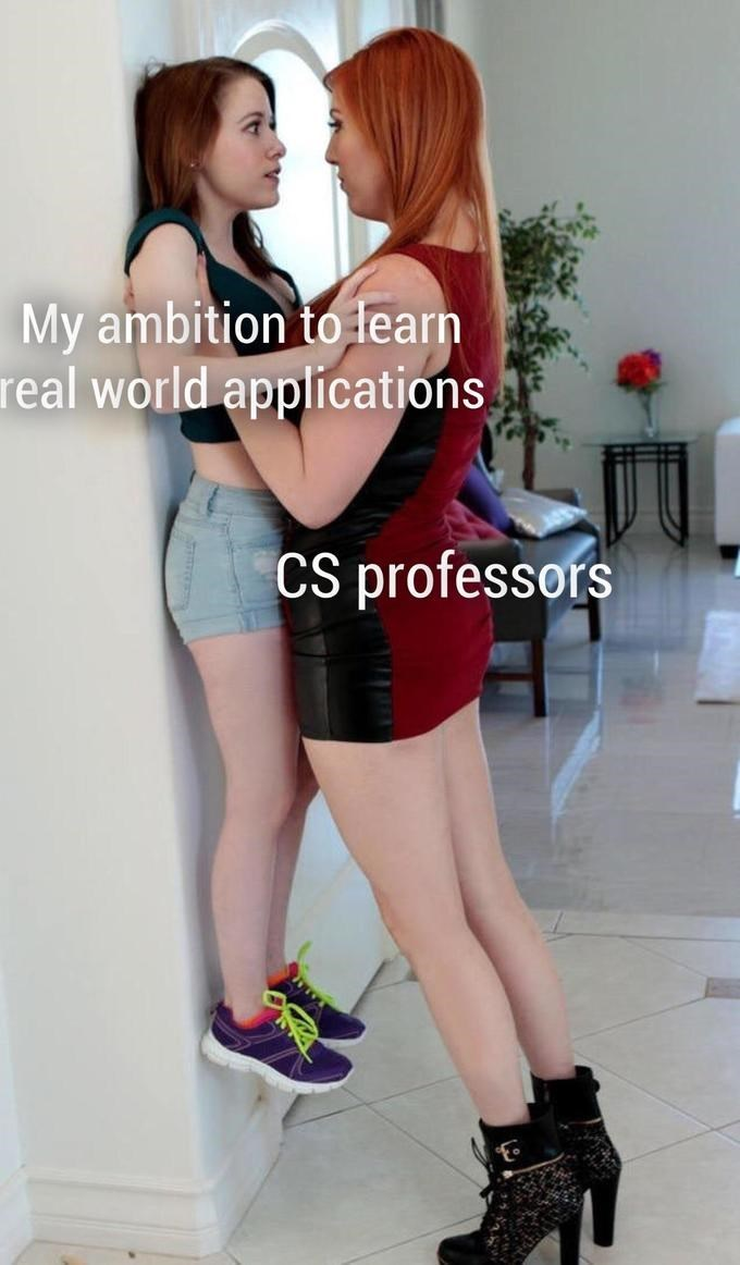 porn meme - Clothing - My ambition to learn real world applications CS professofs