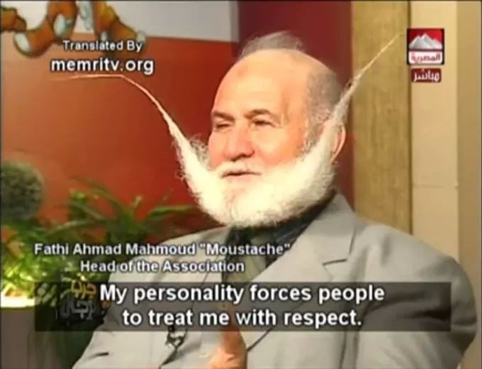 "meme - Facial hair - Translated By memritv.org Fathi Ahmad Mahmoud ""Moustache"" Head of the Association My personality forces people to treat me with respect."