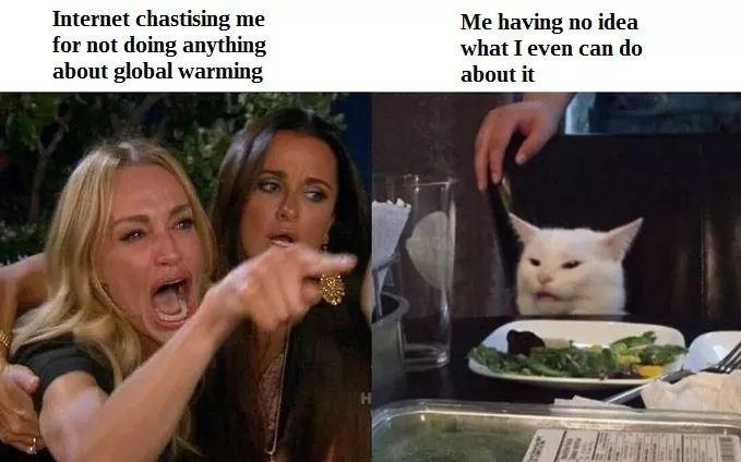 meme - Photo caption - Internet chastising me for not doing anything about global warming Me having no idea what I even can do about it