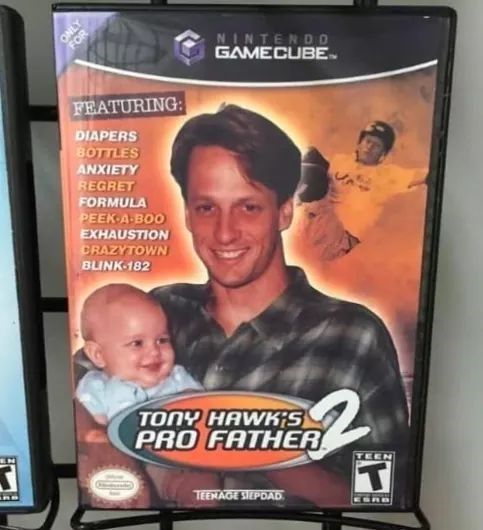 meme - Technology - NINTENDO GAMECUBE FOR FEATURING: DIAPERS BOTTLES ANXIETY REGRET FORMULA PEEK A BOO EXHAUSTION CRAZYTOWN BLINK 182 TONY HAWKIS PRO FATHER TEEN T TEEMAGE STEPDAD