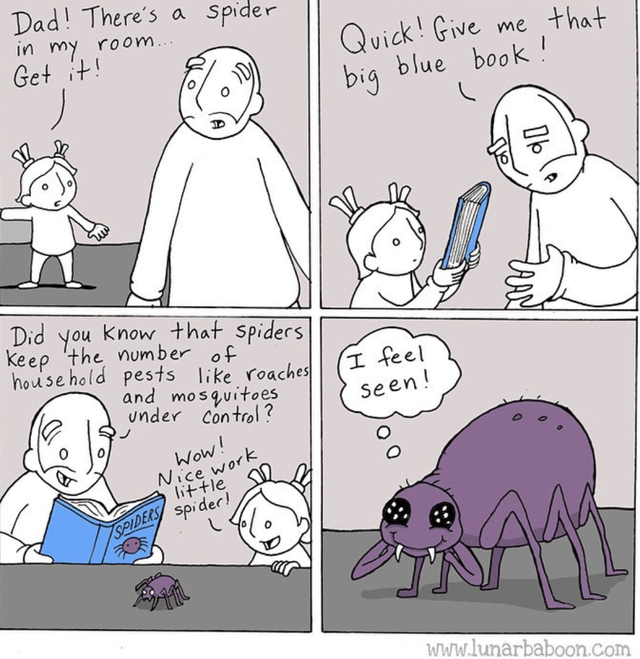 wholesome webcomic - Cartoon - Dad! There's a in my room... Get it Spider Quick! Give big blue book me that Did you know that spiders keep 'the number of house hold pests like roaches and mosquitoes under control? I feel Seen! Wow! NIce work little SPIDERS spider! www.lunarbaboon.com Q O