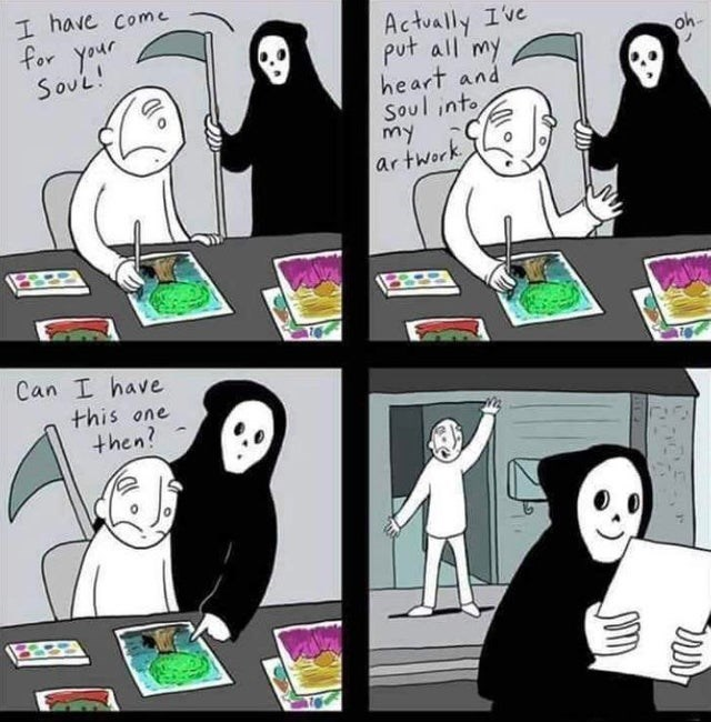 wholesome webcomic - Cartoon - I have come for your Soul! Actually Ive put all my heart and Soul into my ar twork Oh Can I have this one then? ילו