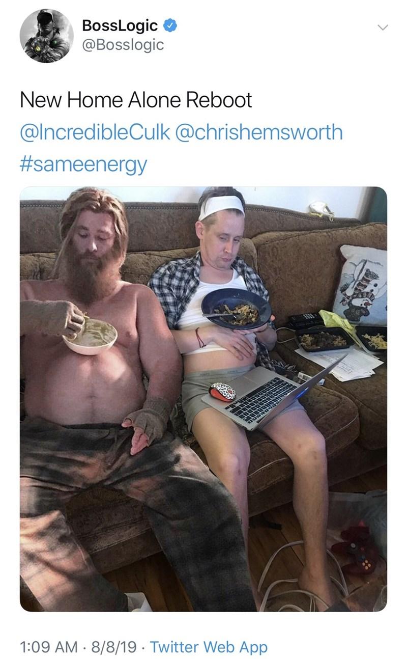 Human - BossLogic @Bosslogic New Home Alone Reboot @IncredibleCulk @chrishemsworth #sameenergy 5559 1:09 AM 8/8/19 Twitter Web App