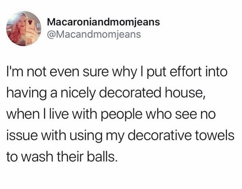 Text - Macaroniandmomjeans @Macandmomjeans I'm not even sure why I put effort into having a nicely decorated house, when I live with people who see no issue with using my decorative towels to wash their balls.