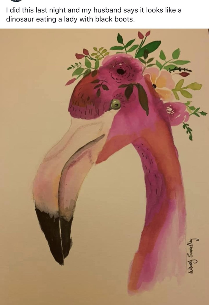 Pink - I did this last night and my husband says it looks like a dinosaur eating a lady with black boots.