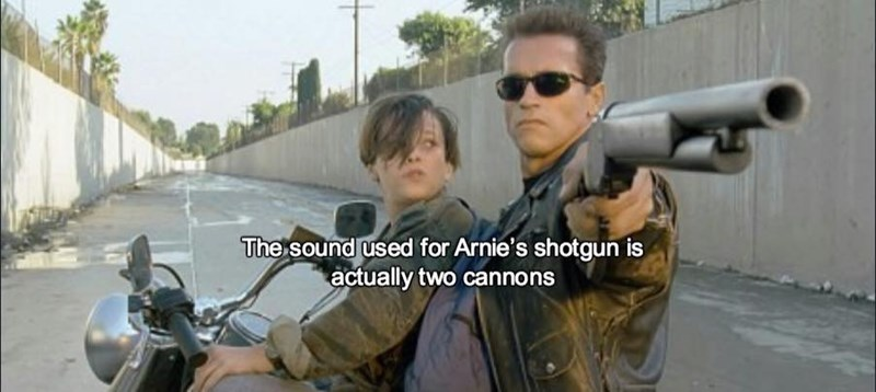 Soldier - The sound used for Arnie's shotgun is actually two cannons