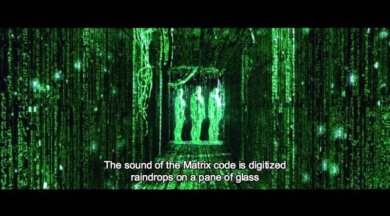 Nature - The sound of the Matrix code is digitized raindrops on a pane of glass
