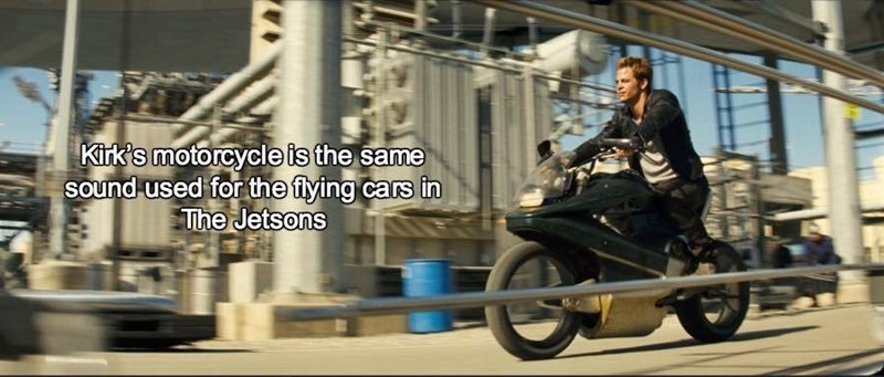 Motor vehicle - Kirk's motorcycle is the same Sound used for the fying cars in The Jetsons