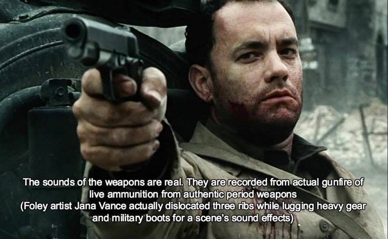 Movie - The sounds of the weapons are real. They are recorded from actual gunfire of live ammunition from authentic period weapons (Foley artist Jana Vance actually dislocated three ribs while lugging heavy gear and military boots for a scene's sound effects)