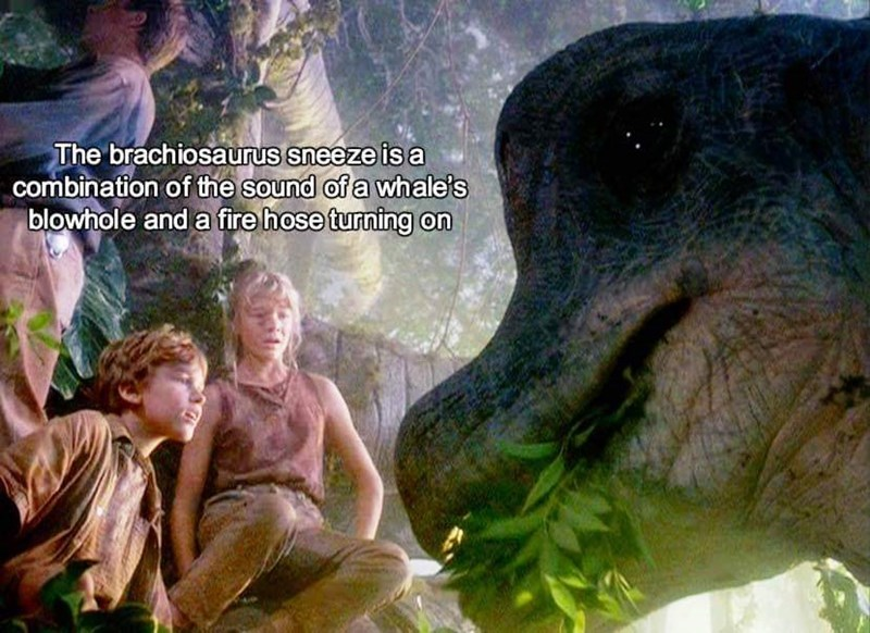 sound effects - Adaptation - The brachiosaurus sneeze is a combination of the sound of a whale's blowhole and a fire hose turning on
