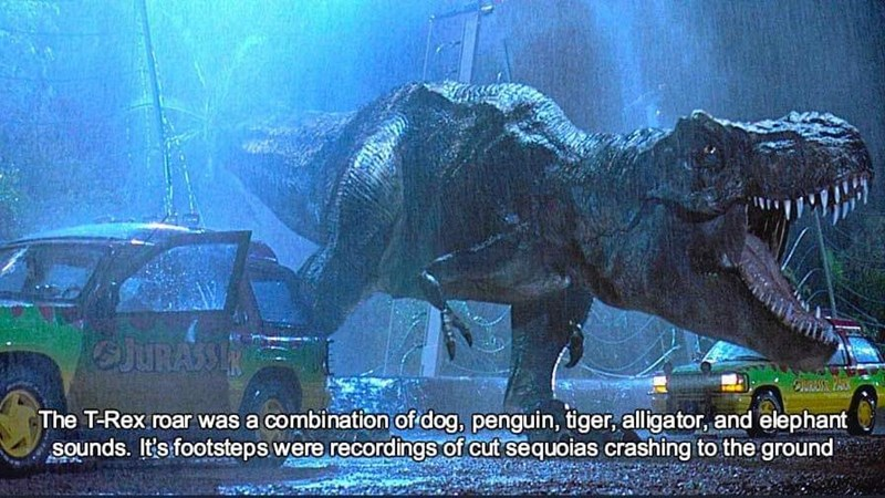 sound effects - Dinosaur - JURASSIR SiRASE PACK The T-Rex.roar was a combination of dog, penguin, tiger, alligator, and elephant Sounds. It's footsteps were recordings of cut sequoias crashing to the ground