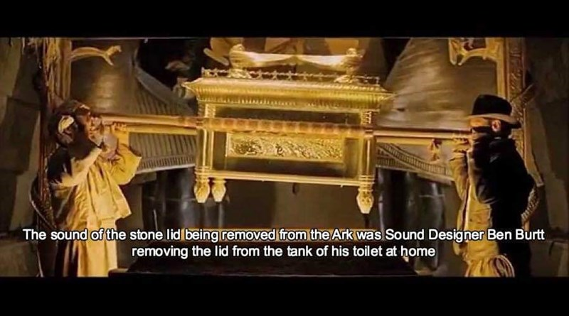 sound effects - Holy places - The sound of the stone lid beingiremoved from the Ark was Sound Designer Ben Burtt removing the lid from the tank of his toilet at home