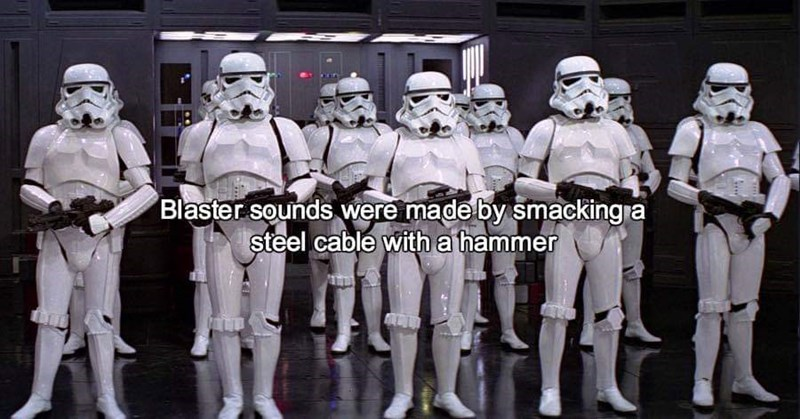 sound effects - Team - Blaster sounds were made by smacking a steel cable with a hammer