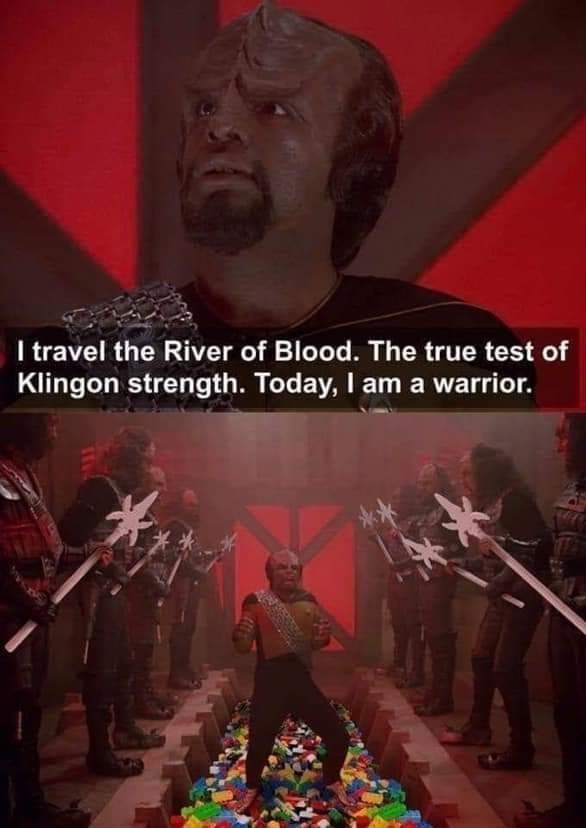 "Meme - ""I travel the River of Blood. The true test of Klingon strength. Today, I am a warrior."""