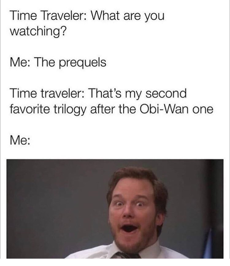 Text - Time Traveler: What are you watching? Me: The prequels Time traveler: That's my second favorite trilogy after the Obi-Wan one Me: