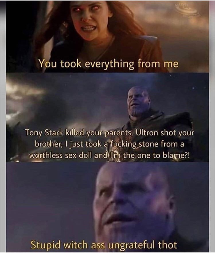 Text - ays You took everything from me Tony Stark killed your parents, Ultron shot your brother, I just took a fucking stone from a worthless sex doll andm the one to blame?! Stupid witch ass ungrateful thot