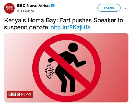 Text - BORBBC News Africa NEWS BBCAfrica Follow Kenya's Homa Bay: Fart pushes Speaker to suspend debate bbc.in/2KzjHfs BBC NEWS