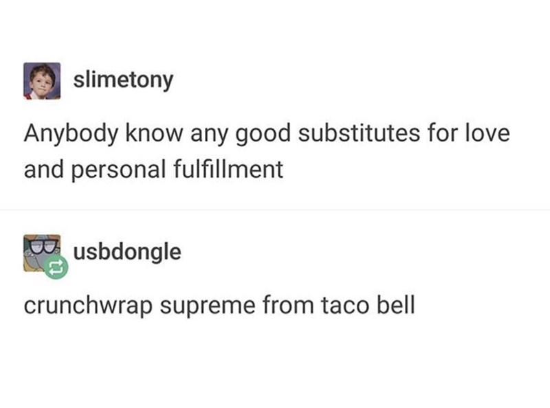 Text - slimetony Anybody know any good substitutes for love and personal fulfillment usbdongle crunchwrap supreme from taco bell