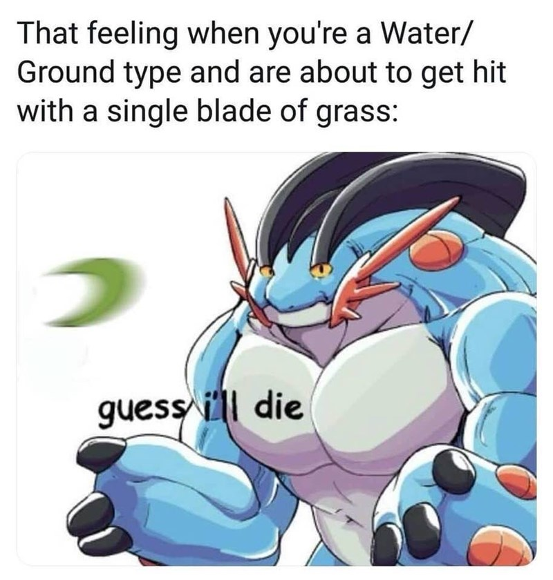 Cartoon - That feeling when you're a Water/ Ground type and are about to get hit with a single blade of grass: guess ll die