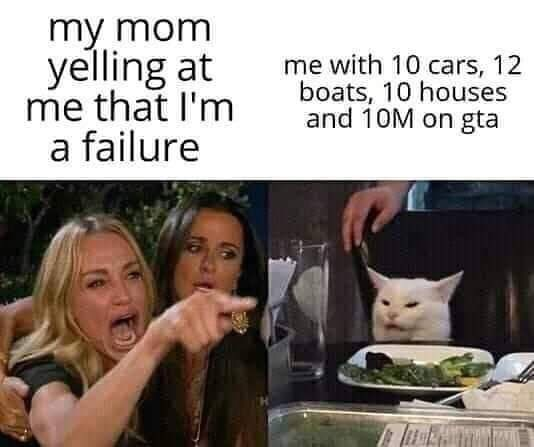 Internet meme - my mom yelling at me that I'm a failure me with 10 cars, 12 boats, 10 houses and 10M on gta