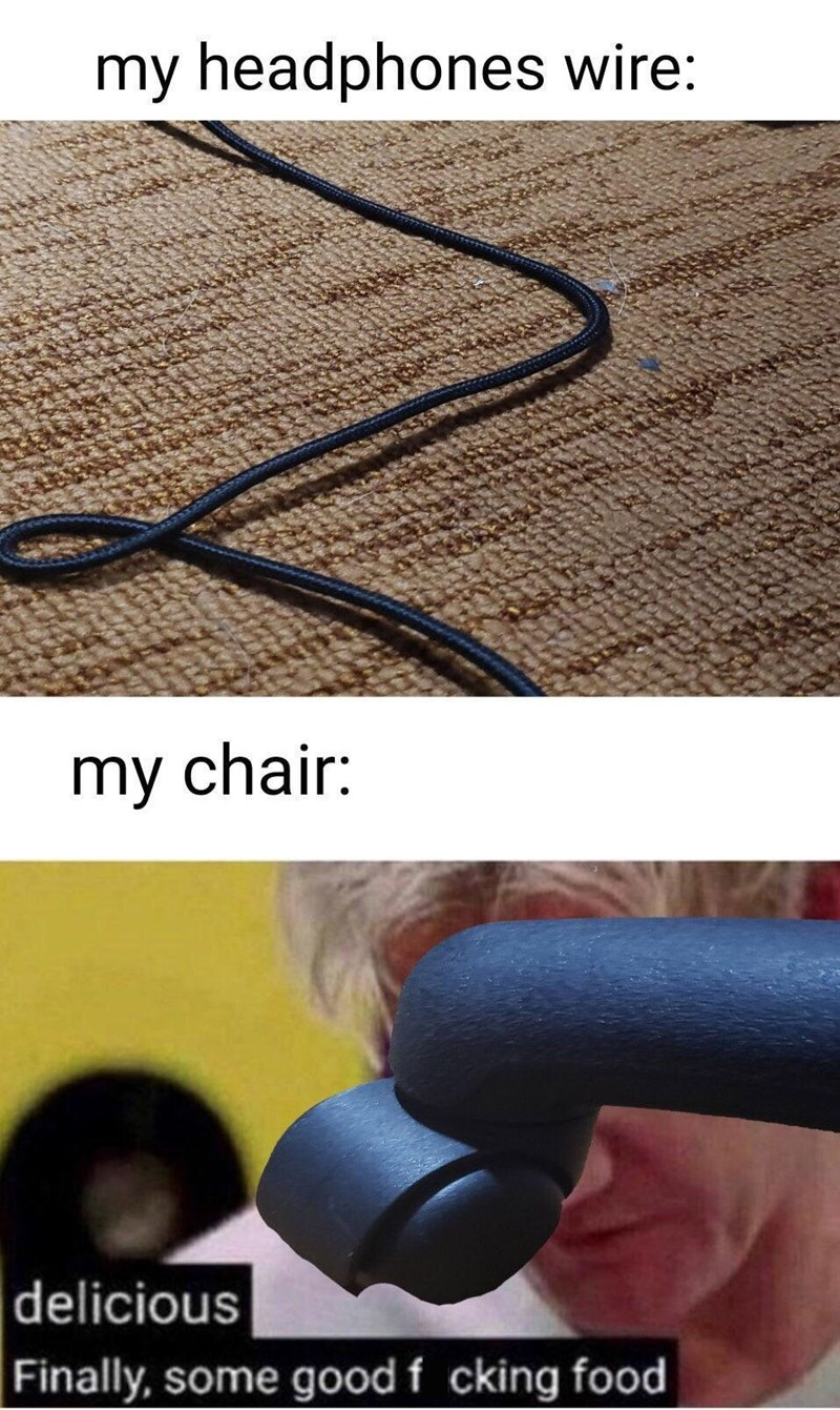 Funny meme with Gordon Ramsay about chairs getting tangled with wires on the floor