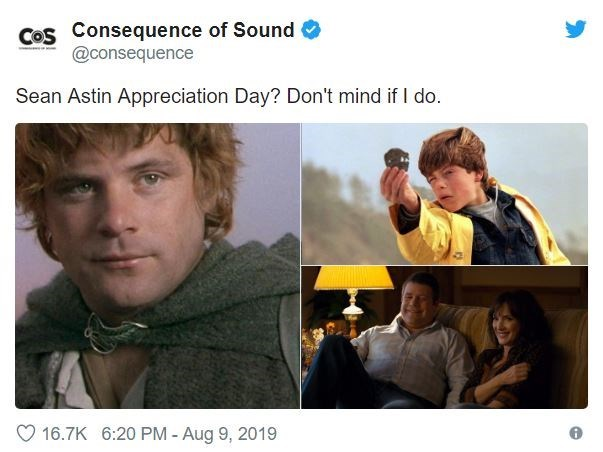 Human - Cos Consequence of Sound @consequence Sean Astin Appreciation Day? Don't mind if I do. 16.7K 6:20 PM - Aug 9, 2019