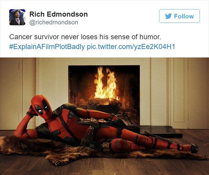 Heat - Rich Edmondson Follow @richedmondson Cancer survivor never loses his sense of humor. #ExplainAFilmPlotBadly pic.twitter.com/yzEe2K04H1