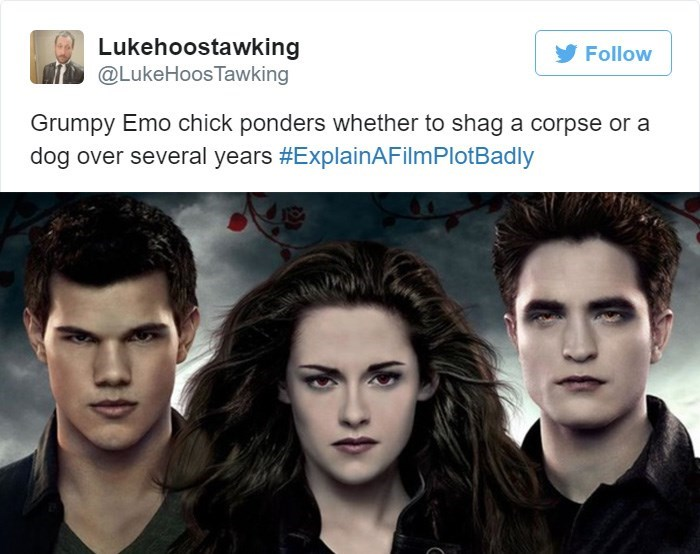 Font - Lukehoostawking @LukeHoos Tawking Follow Grumpy Emo chick ponders whether to shag a corpse or a dog over several years #ExplainAFilmPlotBadly