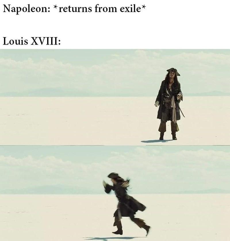 history meme - Text - Napoleon: *returns from exile* Louis XVIII: