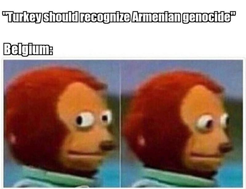 "history meme - Face - ""Turkeyshould recognize Armeniangenocide"" Belgium:"