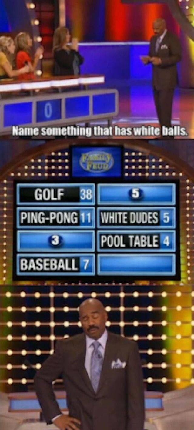 game show - Games - Name something that has white balls. GOLF 38 PING-PONG 11 WHITE DUDES 5 POOL TABLE 4 BASEBALL 7