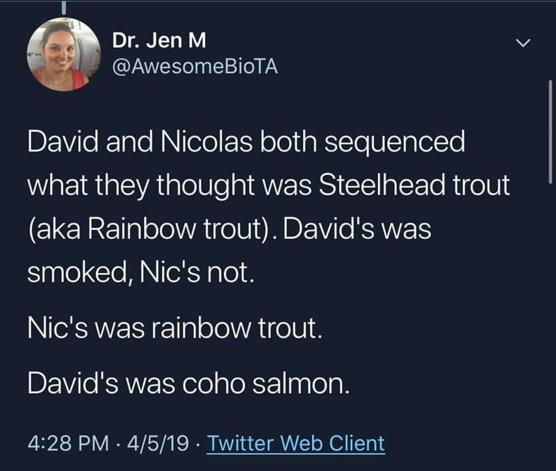 fish fraud - Text - Dr. Jen M @AwesomeBioTA David and Nicolas both sequenced what they thought was Steelhead trout (aka Rainbow trout). David's was smoked, Nic's not. Nic's was rainbow trout. David's was coho salmon. 4:28 PM 4/5/19 Twitter Web Client