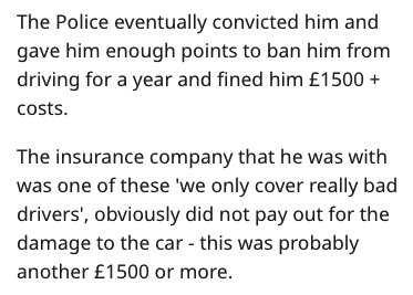 Text - The Police eventually convicted him and gave him enough points to ban him from driving for a year and fined him £1500 costs. The insurance company that he was with was one of these 'we only cover really bad drivers', obviously did not pay out for the damage to the car - this was probably another £1500 or more.