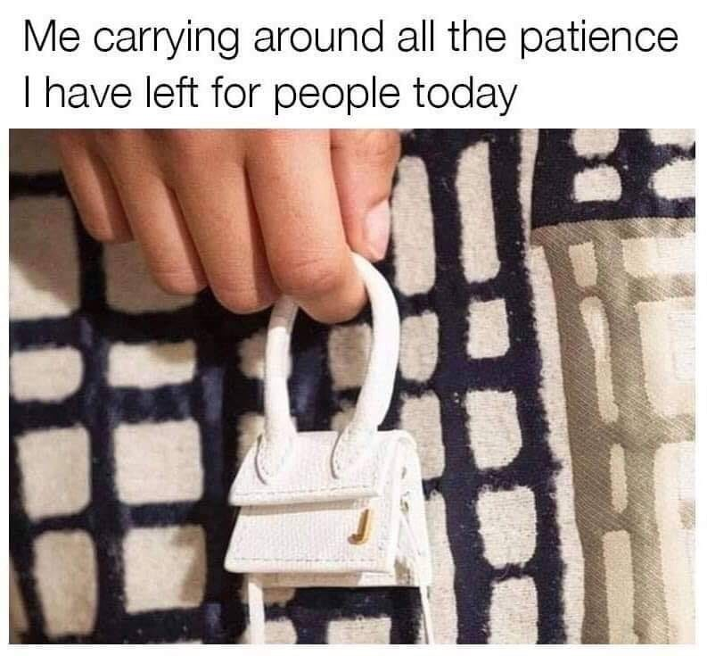 Finger - Me carrying around all the patience I have left for people today