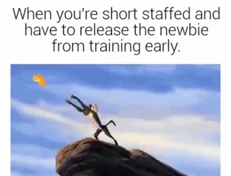 Organism - When you're short staffed and have to release the newbie from training early.