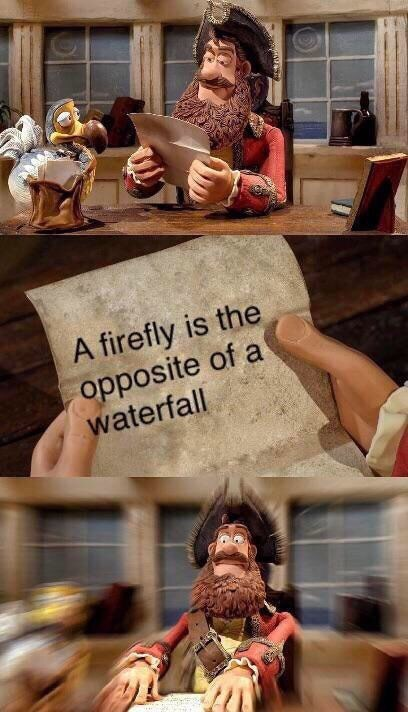 Funny meme about how a 'firefly' is the opposite of a 'waterfall'