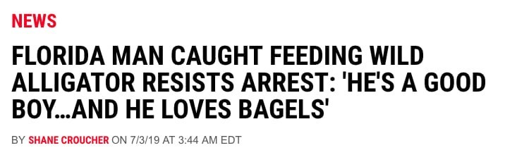 florida man - Text - NEWS FLORIDA MAN CAUGHT FEEDING WILD ALLIGATOR RESISTS ARREST: 'HE'S A GOOD BOY...AND HE LOVES BAGELS BY SHANE CROUCHER ON 7/3/19 AT 3:44 AM EDT