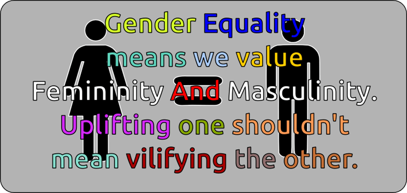 toxic femininity - Text - Gender Equaliy means we value, Femininity And Masculinity Upl Fting one shouldn't mean vilifying the other.